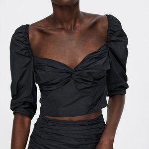 NWT Zara Black Taffeta Ruched Draped Crop Top
